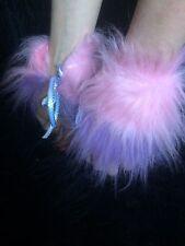 Wrist Cuffs Baby Pink & Lilac Stripe Fancy Dress Cuffs Unisex One Size Fake Fur