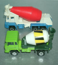 Two 1/64 Scale Cement Mixer Diecast Concrete Truck Toys - Yatming & Hot Wheels