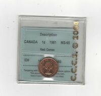 **1961**,CCCS Graded Canadian, Small One Cent, **MS-65 Cameo**