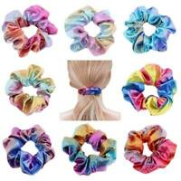 8Pc Women Shiny Metallic Hair Scrunchies Ponytail Holder Elastic Ties Bands Girl