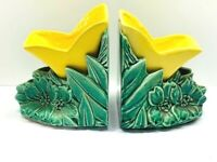 Vintage McCoy Pottery Mid Century Yellow Tulip Green Leaves Bookend Planters