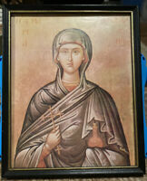 "Saint Mary Magdalene The Myrrh Bearer ~ Greek Orthodox Framed Icon 8.5x11"" RARE!"
