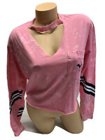 NWT victoria's Secret PINK long Sleeve Tie Dye Graphic Campus Cropped Tee XS