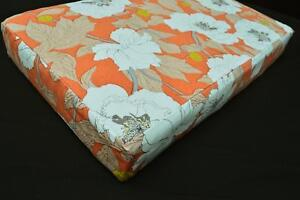 LF801t White Flower Daisy Orange Cotton Canvas 3D Seat Box Shape Cushion Cover