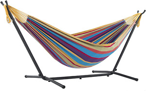 Vivere Double Cotton Hammock With Space Saving Steel Stand, Tropical (450 Lb