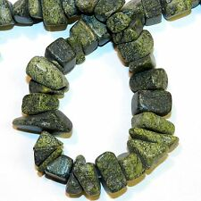"""GC156f Green Russian Serpentine Large 8-16mm Nugget Chip Gemstone Beads 15"""""""