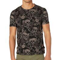 John Varvatos Star USA Men's Auburn Floral Skulls Graphic Crew T-Shirt Black