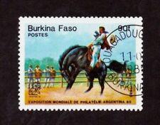 BURKINA FASO, (AFRICA) One 90f 1985 GAUCHOS, HORSES Stamp,UsedSeeDescr.   FUS972