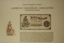 1981 ABNC INTERPAM Canada West $1 Bill /& New Jersey $2 Bill Souvenir Card
