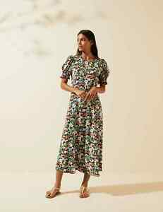 MARKS AND SPENCER X GHOST FLORAL PUFF SLEEVE MIDI TEA DRESS SIZE 14 MULTI