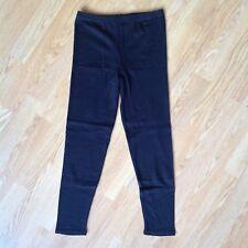 Black 100% Cotton Leggings Petite Size M Elastic Made in UK