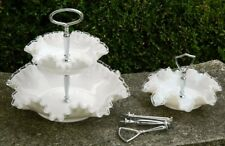 Fenton Silver Crest 3 Tiered Serving Ruffled Tidbit Bon-Bon  Glass