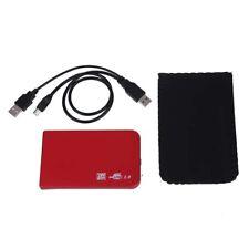 "Alu 2.5"" SATA HDD externes Festplatte Gehaeuse rot + Leder Tasche"