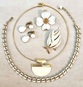 Vintage Crown Trifari Gold-Tone White Jewelry Lot Necklaces Dogwood & Leaf Pins