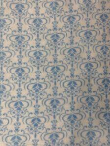 Blankets & Beyond Baby Plush Blanket Blue White Damask Print Measures 30 X 30