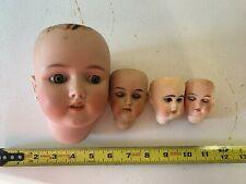 Antique lot of 4 doll heads , Halbig , Kestner , Marseille , No Chips or Cracks