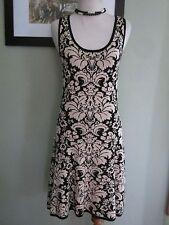 Love Fire Floral Black White Knit Dress Size M