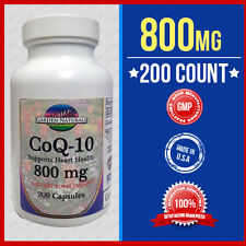 CoQ-10 400mg/Capsule 800mg/Serving 200Capsules Coq10 Co Q10 Coenzyme Made USA