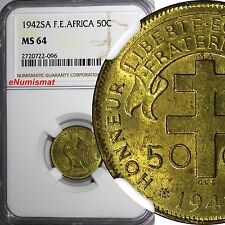 French Equatorial Africa 1942 SA 50 Centimes NGC MS64 1 YEAR TYPE KM# 1