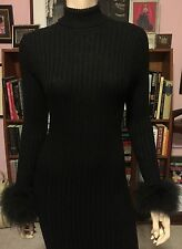 Vintage 1960s 70s RIBBED KNIT FITTED MAXI DRESS MARIBOU FEATHERS Zip Up Back 4/6