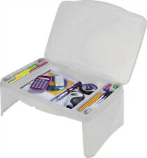 Kids Portable Lap Desk Tray Writing Laptop Table with Storage Compartments White