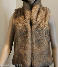 Fur Vest Faux Mink Sleeveless Jacket Top Lined Luxe Glam M 8 - 10 Target