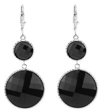 14K White Gold Gemstone Earrings with Round Black Onyx