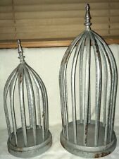 """Vintage Pair of Decorative Aluminum Bird Cages [21""""H & 16.75""""H]"""