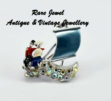 Rhinestone Silver Vintage Costume Brooches/Pins (1950s)