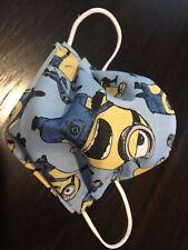 1- Adult Minions Blue  Handmade  100%cotton face masks,filter pocket,