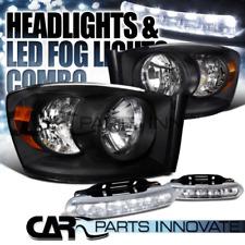 2006-2008 Dodge Ram 1500 2500 3500 Black Clear Headlights+6-LED Fog Lamps Pair