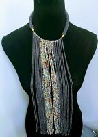African  Long multicolored Waterfall handmade Beaded Necklace Gray