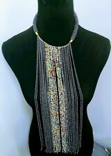 handmade Beaded Necklace Gray African Long multicolored Waterfall