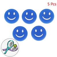 5 Pcs Blue Smile Silicone Tennis Racket Shock Absorber Damper Reduce VibrationX