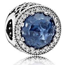 Authentic Pandora Silver Charm Radiant Hearts Moonlight Blue Bead 791725NMB