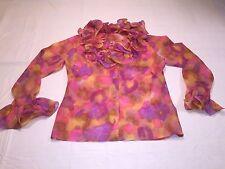 *Vintage 1960's Elite Ruffle Collar blouse sz 18 Multicolor Long Bell Sleeves