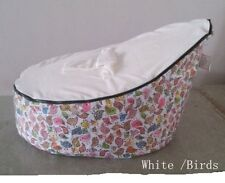 New white Canvas Birds Baby infant Bean Bag Snuggle Bed Portable Seat No Filling