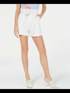 INC Womens White Belted Shorts Size: S