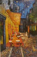 "Vintage Oil Painting on Canvas Nighttime Street Scene Unframed Art  (36"" x 24"")"
