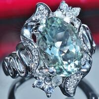 14k 585 white gold 6.25ct natural prasiolite diamond sapphire size 8 ring 7.8gr