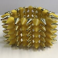 Yellow And Gold Spikes Acrylic Beaded Stretch Bracelet