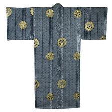 "Japanese Men's 58"" Cotton Kimono Yukata Robe Ancient Coin Pattern, Made in Japan"