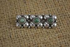 VINTAGE messicani trama grossa verde e argento pietra dura Spilla