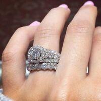 4.10Ct Certified Round Cut Diamond 14k White Gold Engagement & Wedding Ring Set