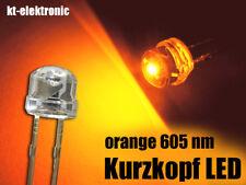 100 Stück LED 5mm straw hat orange, Kurzkopf, Flachkopf 110°