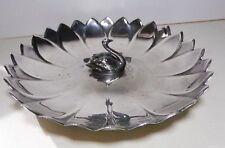 Vintage Reed & Barton #100 EPNS Silver Plated Lotus Flower & Swan Bon-Bon Dish