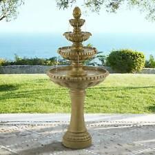 "Italian Outdoor Floor Water Fountain with Light LED 66"" 4 Tier for Yard Garden"