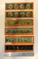 Vintage Antique Magic Lantern Glass Slides - 6 total