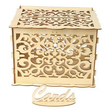 DIY Wooden Wedding Card Box with Lock and Card Sign Rustic Hollow Gift Card N7J3