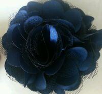 "Girls Womens 3""satin & Net Full Flower Hair Clip, Brooch, corsage Navy Blue..UK"